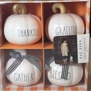 Rae Dunn Mini Pumpkins Thankful Blessed Gather New